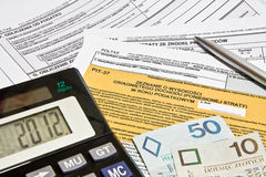 Taxes. Calculating taxes in Poland, PLN currency Stock Images