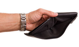 After taxes. Hands opening an empty wallet over white stock photography