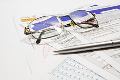 Taxes. Calculating taxes in Poland PLN currency Royalty Free Stock Photo
