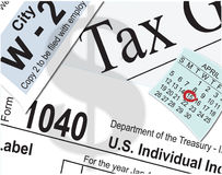 Taxes. Tax paperwork and calendar drawn in Adobe Illustrator Stock Images