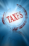 Taxes. Stamp with taxes on a blue background Stock Images