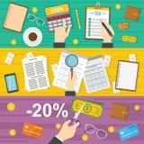 Taxes accounting banner horizontal set, flat style. Taxes accounting money banner horizontal concept set. Flat illustration of 3 taxes accounting money vector Royalty Free Stock Photography