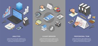 Taxes accounting money banner set, isometric style. Taxes accounting money banner concept set. Isometric illustration of 4 taxes accounting money vector banner Stock Image