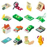 Taxes accounting money icons set, isometric style. Taxes accounting money icons set. Isometric illustration of 16 taxes accounting money vector icons for web Vector Illustration
