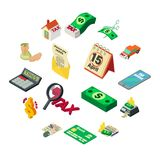 Taxes accounting money icons set, isometric style. Taxes accounting money icons set. Isometric illustration of 16 taxes accounting money vector icons for web Stock Photos