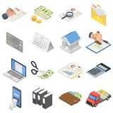 Taxes accounting money icons set, isometric style. Taxes accounting money icons set. Isometric illustration of 16 taxes accounting money vector icons for web Stock Photography