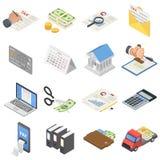 Taxes accounting money icons set, isometric style. Taxes accounting money icons set. Isometric illustration of 16 taxes accounting money vector icons for web Stock Illustration