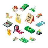 Taxes accounting money icons set, isometric style. Taxes accounting money icons set. Isometric illustration of 16 taxes accounting money icons for web Stock Illustration