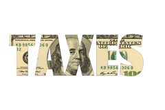 Taxes with american dollar background, isolated white royalty free stock photos