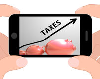 Taxes Arrow Displays Higher Taxation And Levies Stock Images