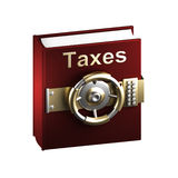 Taxes as a top secret book. Isolated on white royalty free illustration