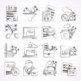 Taxes, business and finance icons. Vector icon set Stock Photos