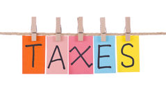 Taxes, Colorful words stock images