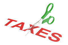 Taxes concept, cutting taxes. 3D rendering Royalty Free Stock Photography