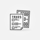 Taxes concept icon. Vector minimal sheet of paper with abacus symbol in thin line style Royalty Free Stock Image