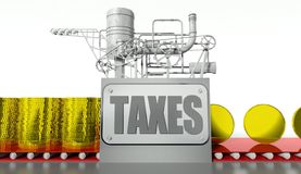 Taxes concept with money machine. Taxes concept with money and machine stock illustration