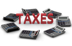 Taxes - constant calculation concept. 3D rendered illustration of seven calculators placed around the red text TAXES. The composition is  on a white background Royalty Free Stock Image