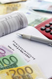 Taxes, costs, document, calculator, close up Royalty Free Stock Photo