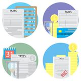 Taxes count and pay a set of icons Royalty Free Stock Photography