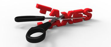 Taxes cut. 3D taxes cut in half with a sccisors Royalty Free Stock Photos