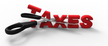 Taxes cut. 3D taxes cut in half with a sccisors Stock Photography