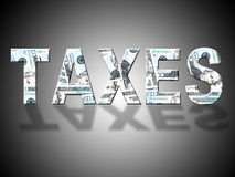 Taxes Dollars Shows United States And Banking Royalty Free Stock Photos