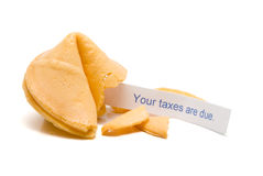 Taxes Due. A fortune cookie with the message that your taxes are due Stock Photos