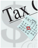 Taxes due in April. Tax paperwork and calendar drawn in Adobe Illustrator Stock Photography