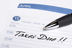 Taxes Due Datebook Reminder Royalty Free Stock Image