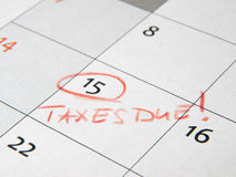 Taxes due marked on calendar Stock Images