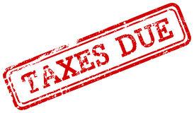 Taxes due red rubber stamp Royalty Free Stock Photo