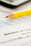 Taxes: Focus on Schedule A Form Stock Image