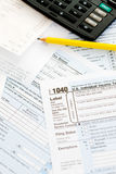 Taxes: Focus on 1040 Tax Form Royalty Free Stock Image