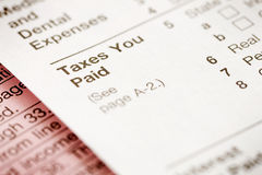 Taxes: Focus on Taxes You Paid Section Stock Image