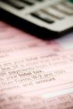 Taxes: Focus on Total Tax Line Stock Photos