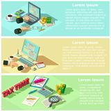 Taxes form banner horizontal set, isometric style. Taxes form accounting money banner horizontal concept set. Flat illustration of 3 taxes form accounting money Royalty Free Stock Images
