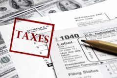 Taxes Forms and Money stock photos
