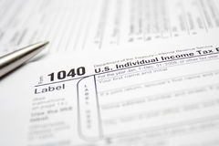 Taxes forms and pen Stock Photography