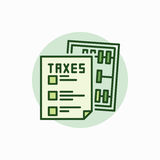 Taxes green icon. Vector colorful tax form with abacus concept sign Royalty Free Stock Photos