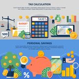 Taxes Horizontal Banners. Set of horizontal banners with taxes calculation, budget planning, personal earnings and savings isolated vector illustration Stock Photography