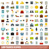 100 taxes icons set, flat style. 100 taxes icons set in flat style for any design vector illustration stock illustration