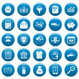 Taxes icons set vetor blue. Taxes icons set. Simple illustration of 25 taxes vector icons blue isolated Royalty Free Stock Images