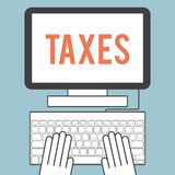 Taxes. Illustration of the word  taxes on computer screen Royalty Free Stock Images