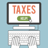 Taxes. Illustration of the word  taxes on computer screen Royalty Free Stock Photos