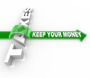 Taxes - Keep Your Money. The word Taxes and Keep Your Money jumping over it on an arrow Royalty Free Stock Photo