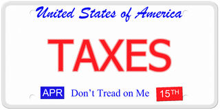 Taxes License Plate. An imitation United States License Plate with the words TAXES and April 15th on it with Don't Tread on Me stock illustration