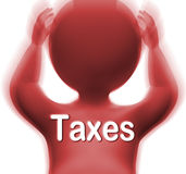 Taxes Man Means Paying Income  Business Or Property Tax. Taxes Man Meaning Paying Income Business Or Property Tax Royalty Free Stock Photo