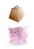 Taxes on money savings. Illustration on the concept of piggy bank : taxes on money savings Stock Photography