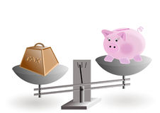 Taxes on money savings. Illustration on the concept of piggy bank : taxes on money savings Royalty Free Stock Photo