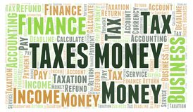 Taxes Money word cloud. Wordcloud made with text only royalty free illustration